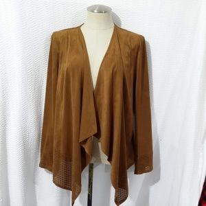 CHICO'S Brown Polyester Blend Open Front Cardigan
